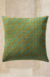 Cushion Cover - Green/Mustard Ikat