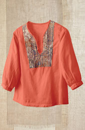 Shikha Top - Coral/Multi