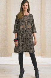 Kaveri Tunic Dress - Natural/Black