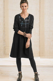 Jersey Kurta Dress - Black Chindi
