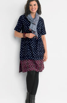 Rashmi Dress - Slate blue/red