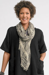 Linen Scarf - Natural/black